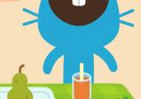Screenshot: ein blauer Hase isst bei Tisch