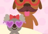 Screenshot: ein großer Hund mit Krone und Brille und ein kleiner Hund mit Masche und Herzbrille