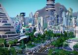 Abgebildete Stadt der Zukunft mit Wolkenkratzern