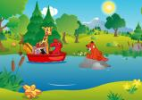 Screenshot: Hase und Giraffe schwimmen in einem Boot auf einem Fluss und treffen dabei auf einen Fuchs.