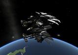 Riesige Raumstation, die um den Planeten Kerbin kreist