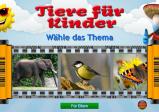 """Screenshot: Hauptmenü des Spiels. Auf einm aufgerollten Analogkamerafilm sind verschiedene Tierbilder, in diesem Fall ein Elefant, eine Kohlmeise und ein Schmetterling. Darüber steht """"Tiere für Kinder Wähle das Thema"""""""