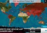 Screenshot: Weltkarte auf der infizierte Länder rot markiert sind