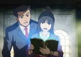 Phoenix Wright und seine Assistentin Maya, in den Händen das magische Buch der Geschichte Labyrinthias, das leuchtet