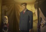 Ausschnitt aus einer Videosequenz, zu sehen Phoenix Wright im Anzug, Sophie und Maya in einer dunklen Scheune