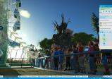 Screenshot: Mehrere Menschen stehen in der Warteschlange zu einem Fahrgeschäft namens Kick-Flip. Das Menü zeigt den Status des Fahrgeschäfts.