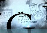 Die zwei Punkte befinden sich auf einem Buchstaben. Im Hintergrund sieht man Claude Garamont.