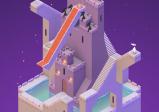 Screenshot mit einer schwebenden Burg mit vielen Stiegen