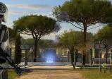 Screenshot: Ein weißer Android steht in einer mit Bäumen bewachsenen Tempelanlage. Vor ihm zeigen zwei Schilder mit unterschiedlichen Symbolen jeweils nach rechts und links.