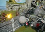 Screenshot: Eine Steinkugel durchbricht die Mauern einer mittelalterlichen Festung