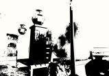 Wolkenkratzer in schwarz-weiß