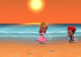 """Screenshot von """"Tomodachi Life"""" mit zwei Spielfiguren am Strand"""