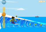 Screenshot: Surferin auf Welle