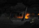 Screenshot mit einer Sanitäterin, die sich hinter einem Busch versteckt