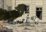 Screenshot mit Haus mit zertrümmerten Scheiben und einem Verletzen