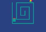 Screenshot: Eine Kugel in einem Labyrinth mit blauem Hintergrund.