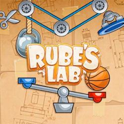 """Cover: Der Schriftzug """"Rube's Lab"""" umgeben von einer Waage und Flaschenzügen."""
