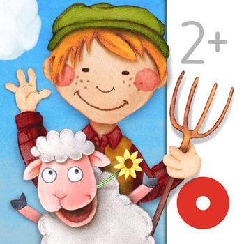 Cover: ein Bub mit einerm Heugabel in der Hand und einem lachendem Schaf