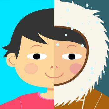 Cover vom Spiel mit einem Kinderporträt, dessen rechte Hälfte winterlich gekleidet ist und die linke sommerlich.