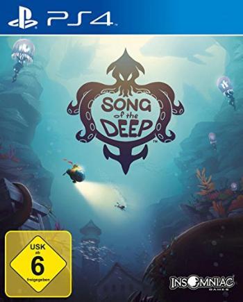 """Cover: Gezeichnete Unterwasserlandschaft mit versunkenen Gebäuden. Ein U-Boot beleuchtet eine tauchende Person. In der Mitte steht """"SONG of the DEEP"""", das von einem Krakenlogo umschlungen wird."""