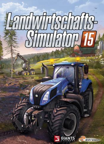 ein blauer Traktor fährt vor einem gelben Rapsfeld