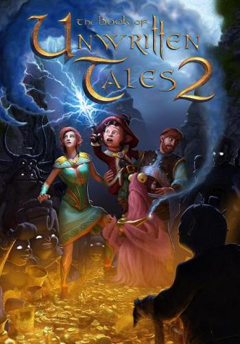 """Prinzessin Ivo, Wilbur, Nate und dessen """"Vieh"""" bildmittig; unter ihnen ist ein Haufen Gold und über ihnen ein mit Blitzen durchzogener Himmel abgebildet"""