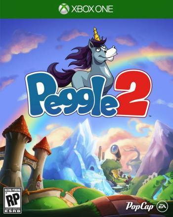 Cover: Ein stolzes Einhorn hinter dem Peggle 2 Schriftzug, vor einer Fantasielandschaft positioniert.