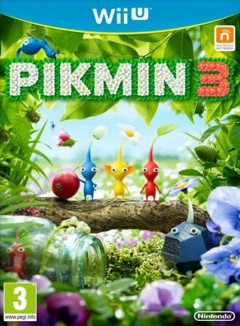 Das Cover zeigt einige kleine Knospenwesen (Pikmin) inmitten blühender Natur.