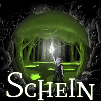 Logo: Der Hauptcharakter steht in einem sumpfigen Wald. Er hat die rechte Hand erhoben, in der eine grüne Flamme leuchtet.