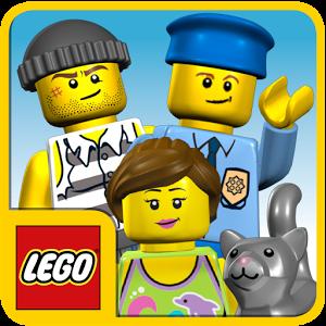 Cover vom Bild mit einem LEGO-Polizisten, LEGO-Verbrecher und einer LEGO-Frau mit LEGO-Katze.