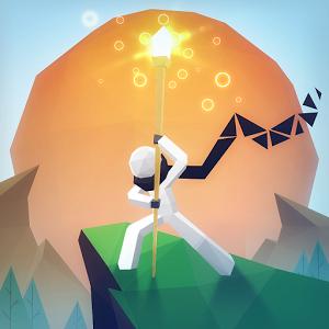 Cover: Eine weiße Strichfigur steht mit wallendem Schal und einem leuchtenden Szepter in beiden Händen auf einer Klippe. Im Hintergrund ist ein riesiger oranger Kreis, ähnlich einer Sonne
