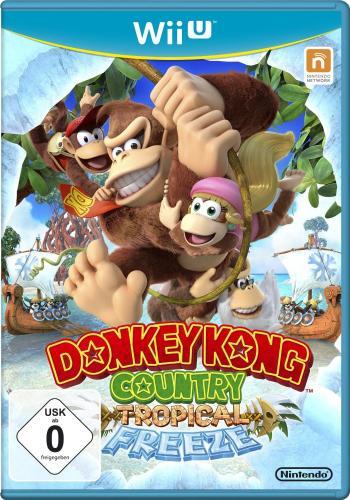 Donkey Kong und andere Affen, die sich an einer Liane entlang schwingen.