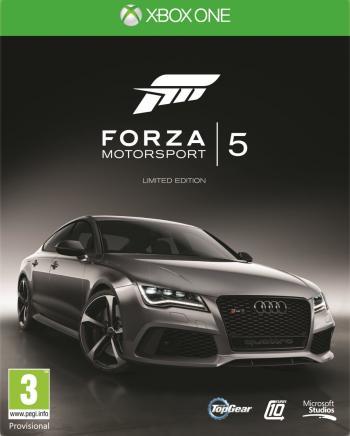 Cover von Forza 5 mit schwarzem Audi (Covers unterscheiden sich in verschiedenen Ausgaben)