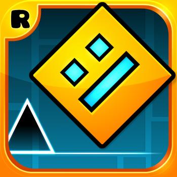 """App-Symbol von """"Geometry Dash"""" mit einem Quadrat mit Gesicht"""