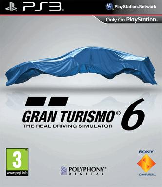 Das Cover von Gran Turismo 6 zeigt eine schematische von einem blauen Tuch abgedeckte Rennwagen-Karosserie.