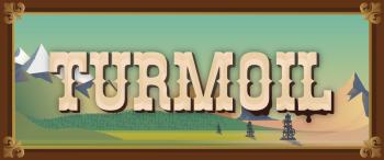 """Logo des Spiels:  Die Lettern """"Turmoil"""" sind in einer typischen Westerndruckschrift geschrieben. Im Hintergrund ist eine abstrakt gezeichnete Berglandschaft mit vereinzelt stehenden Ölbohrtürmen."""