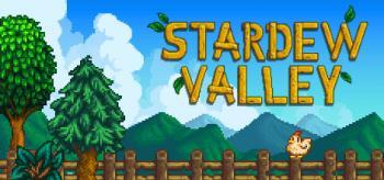 """Cover: Schriftzug """"Stardew Valley"""" über einem Holzzaun mit einem Huhn darauf."""