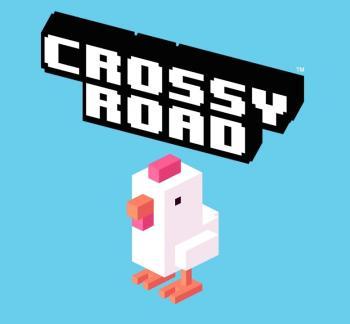 Logo: Ein weißes Huhn in Blockgrafik steht vor einem blauen Hintergrund.
