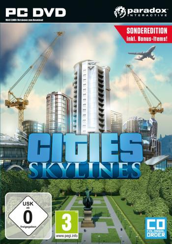 Cover des Spiels mit einer Stadt, einem Flugzeug und Kränen.