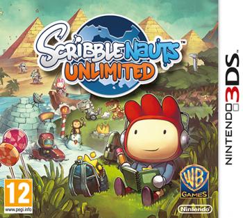 """Cover von """"Scribblenauts Unlimited"""" mit einem Zeichentrickmännchen auf einer Wiese"""