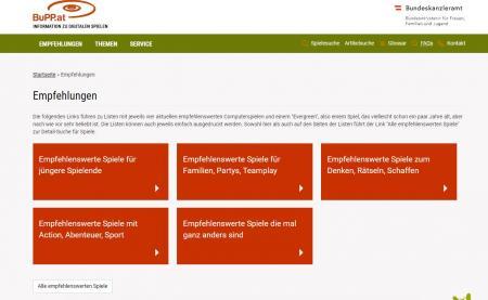 Screenshot der BuPP Website im Bereich: Empfehlungen