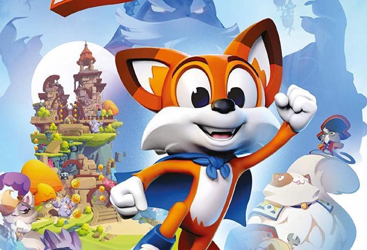 Cover des Spiels: Lucky der Fuchs im Vordergrund, hinten sieht man ein Schloss und seinen Widersacher - Kater Jinx