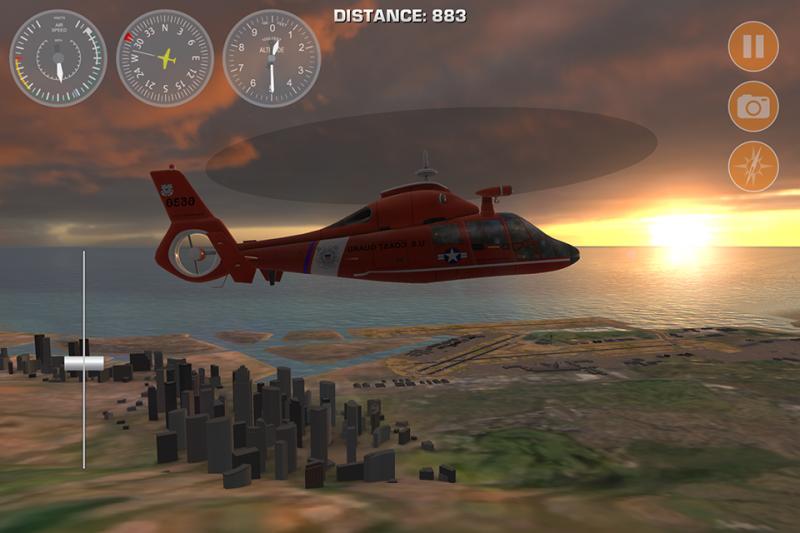 Screenshot Roter Hubschrauber Der Im Sonnenuntergang Uber Eine Stadt Fliegt