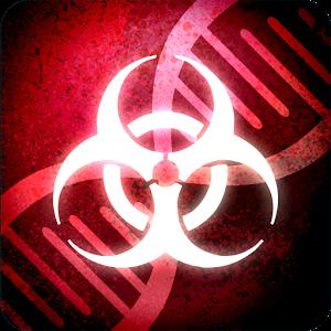 Logo; weißes Symbol für Biogefährdung vor rotem Hintergrund