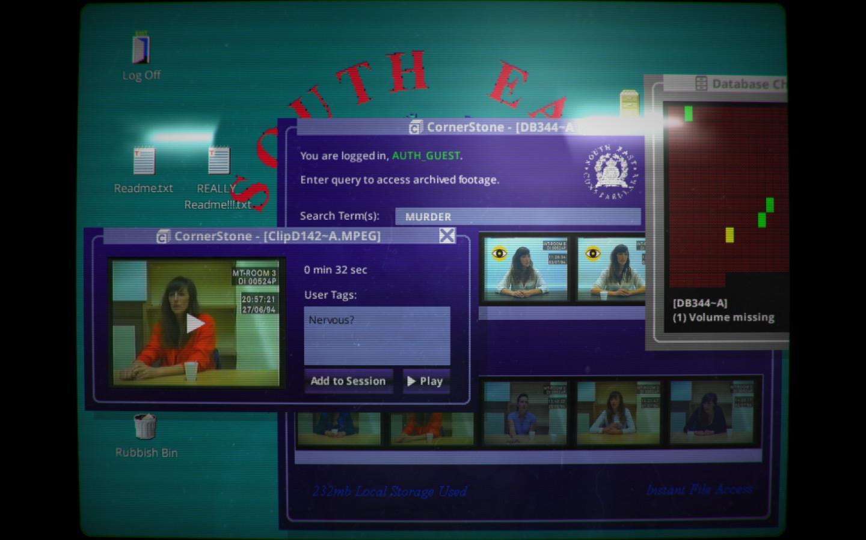 Screenshot: Die Frau des Ermordeten wird verhört; im Hintergrund weitere Suchergebnisse