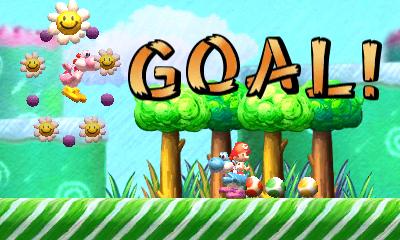 """Screenshot von """"Yoshi's New Island"""" mit dem Ziel eines Levels"""
