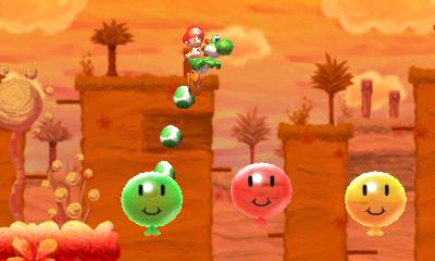 """Screenshot von """"Yoshi's New Island"""" mit einem hüpfenden Dino und Luftballons"""